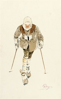PELLEGRINI, CARLO (1866-1937)   CROSS-COUNTRY SKIER NO.1