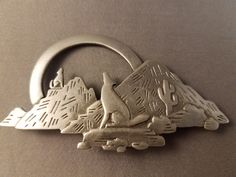 """Vintage JJ South Western Howling Wolf Brooch.  Measures about 3"""" by 1 5/8"""""""