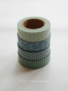 Washi Tape Set - 15mm - Combination BY - Sage and Steel Blue Patterns - Four Rolls Washi Tape No. 106, 124, 179 and 338