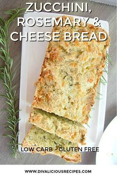 A low carb zucchini bread flavoured with cheese & rosemary makes a delicious savoury bread. Made with almond flour this bread is also gluten free. A low carb zucchini & cheese bread with the flavour of rosemary.