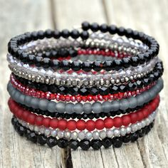 Black Red & Silver Wrap Bracelet by HoleInHerStocking on Etsy Beaded Wrap Bracelets, Beaded Jewelry, Jewelry Bracelets, Jewellery, Bracelet Making, Jewelry Making, Memory Wire Jewelry, Memory Wire Bracelets, Bijoux Diy