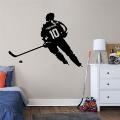 ALL HOCKEY STICKERS Sports Wall Decals, Wall Stickers Room, Baseball Wall Art, Hockey Room, Hockey Gifts, Decorate Your Room, Baseball Players, Wall Colors, Wall Mural