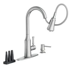 Venango™ Pulldown Kitchen Faucet with Power Clean™ Attachments Spot Resist™ Stainless -- 87113SRS -- Moen