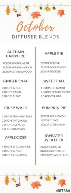 Happy October! Give me some Pumpkin Spice and sweaters!! I am ready! Enjoy this month with these festive and gorgeous essential oil diffuser blends!