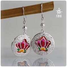 SUNDRUM  999 sterling silver handmade drop earrings for women long earrings jewelry ethnic earrings pattern flower earring lotus