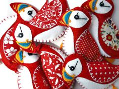 Puffin Christmas ornaments3 Felt puffin by PuffinPatchwork on Etsy