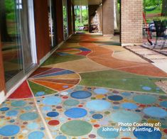 Maybe some colorful concrete stain to seperate a kids area on the giant patio. Something fun like this!