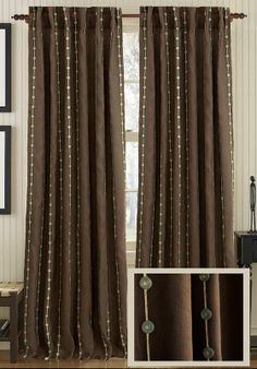 Vision Curtain Panel   Neat Embellishment With Vertical Threads And  Buttons. Home Decorators Linen Curtain