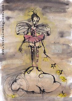 Ink, paint and coffee drawing. Lady in the sky. by Twinkle & Gloom.    www.twinkleandgloom.com