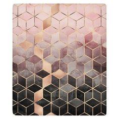 Pink Grey Gradient Cubes Fleece Throw