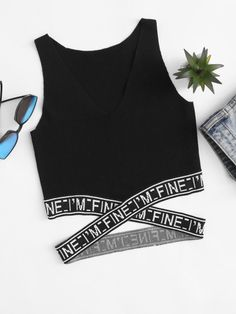 Shop V Neckline Criss Cross Tank Top online. SHEIN offers V Neckline Criss Cross Tank Top & more to fit your fashionable needs. Teen Fashion Outfits, Mode Outfits, Outfits For Teens, Girl Fashion, Summer Outfits, Casual Outfits, Top Fashion, Vintage Fashion, Fashion Ideas
