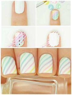 Des rayures pastel.13 tendances nail art faciles et chic pour l'été
