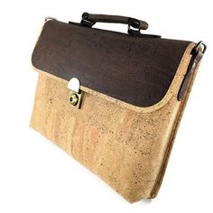 Briefcase Made from Cork Fabric,FREE SHIPPING,Mens Work Bag Size A4,Womens Cross Body Attache Case,Handmade Cork Handbag Made in Portugal: