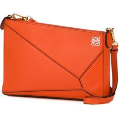 Loewe 'Puzzle' pouch ($1,060) ❤ liked on Polyvore featuring bags, handbags, clutches, orange leather purse, leather shoulder bag, orange leather handbag, leather clutches and real leather handbags