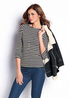 Prúžkované tričko s 3/4 rukávmi #ModinoSK #clothing #stripes #trendy #pruhy #pruzky #fashion #trend #styl #obleceni