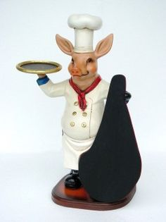 PIG CHEF WITH MENU   MaterialResin Size3.00 Length (cm)61.00 Width (cm)35.00 Height (cm)95.00 Length (inch)24.02 Width (inch)13.78 Height (inch)37.40 CBM0.20 Weight (kg)10.00