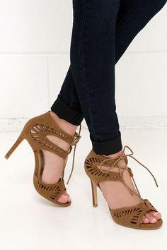Laser Focus Cognac Suede Lace-Up Heels at Lulus.com!