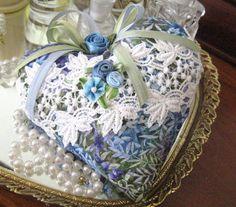 Heart Sachet  Sachet Heart Cottage LEAVES Print by CharlotteStyle, $12.50