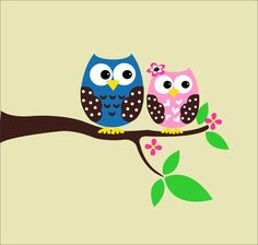Children Decor Owl Decals - Cute Owls Childrens Wall Decals - Baby Nursery Vinyl Wall ARt. $40.00, via Etsy.