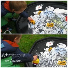 Shaving Foam Car Tracks. Day 28 30 day toddler play challenge. Adventures of Adam. Toddler play. We got kitted out to play in the garden so that I could