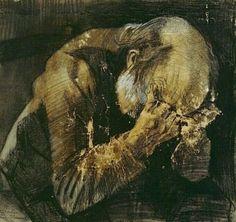 Un anziano addolarato di Vincent Van Gogh 1882.