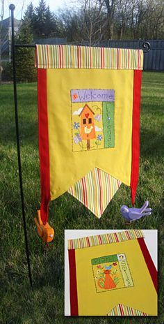 Free project instructions to make a garden flag with machine embroidery designs.