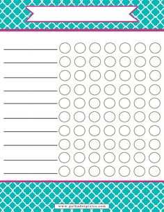 Polka Dot Pixies: Free Chore Chart ...Customizable for children or adults. 4 different colors to choose from