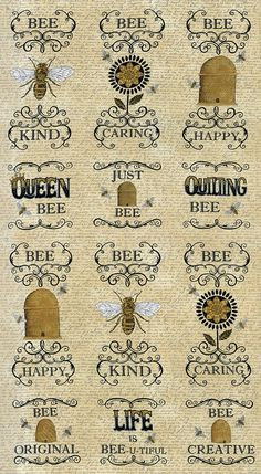 Bee Fabric - Bee Creative Motifs, Bee Blocks by Deb Strain for Moda Fabrics 19750 11 Honey (Tan) - Priced by the Panel Bee Fabric, Bee Creative, I Love Bees, Vintage Bee, Bee Friendly, Bee Cards, Panel Quilts, Bee Theme, Bee Happy