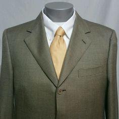 CANALI 44R Mens Sport Coat Tan Silk Wool Made in Italy Blazer Barely Worn #Canali #ThreeButton