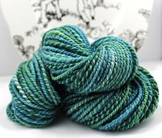 Handspun Yarn Gently Thick and Thin Two Ply Bulky Blue Faced Leicester and Merino 'Merina'