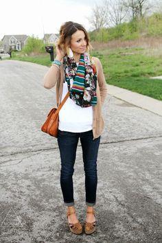 Camel cardigan, mixed print scarf, turquoise jewelry, dark cuffed skinnies