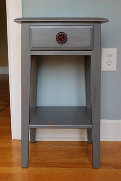 make over an outdated bedside table: valspar high speed steel paint color Dream Bedroom, Home Bedroom, Refurbished Furniture, Diy Furniture, Boy Room, My Dream Home, Home And Family, Interior Design, Colonial