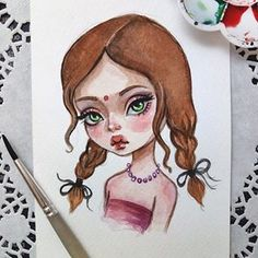 Commission for the beauty @mohini_amrita #art #illustration #watercolorart #instaart #postcard