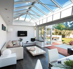 Amdega's stunning contemporary hardwood timber orangery for chic, open plan living. Glass Roof Extension, Conservatory Design, Conservatory Interiors, Conservatory Extension, Knock Down Wall, House Deck, Buying A New Home, Roof Design, House Design