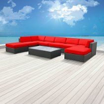 Luxxella Patio Mallina Outdoor Wicker Furniture 9-Piece All Weather Couch Sofa Set, Red