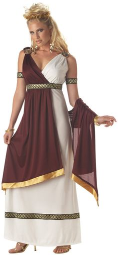 Roman Empress Adult Costume Includes: Dress, Drape, Medallions, Armbands. Does not include shoes, earrings, headpiece. Weight (lbs) 1.08 Length (inches) 14.25 Width (inches) 11 Height(inches) 1.5
