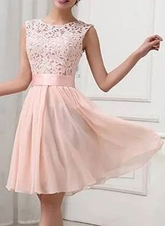 The Chiffon Plain Sleeveless Knee Length Dresses – Pink XS - Sommer Kleider Ideen Knee Length Dresses, Day Dresses, Dress Outfits, Summer Dresses, Dress Clothes, Outfit Summer, Dresses Online, Prom Dresses, Lace Outfit