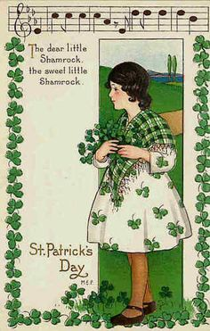 St Patrick's Day Artist Signed M E Price Girl Music Notes Vintage Postcard 403C