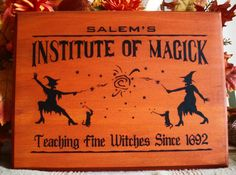 Salem's Institute of Magick Witches Cats Wood Sign Plaque Halloween Decor Prim | eBay