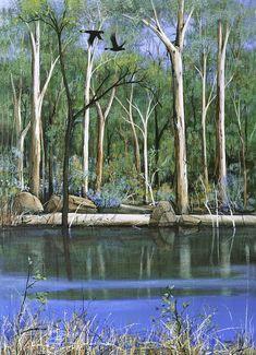 Australian Art with focus on WA, Ingrid Windram's impressionist Landscape, Birds & Wildflowers, Our Wall Art, Original Paintings & Prints will enhance your home Impressionist Landscape, Landscape Art, Landscape Paintings, Tree Paintings, Australian Painting, Australian Artists, River Painting, Shadow Art, Indigenous Art