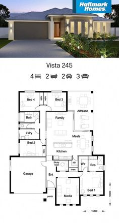 Vista 245 - Hallmark Homes The Vista 245 allows you to escape the hustle and bustle of the home in the very private master sui House Layout Plans, Family House Plans, Dream House Plans, Modern House Plans, House Layouts, Modern House Design, House Floor Plans, Single Storey House Plans, House Construction Plan