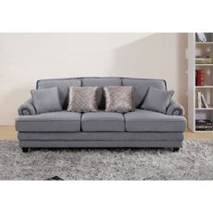 Chic My Room contemporary Nicole upholstered sofa 3 seater suite settee grey neutral comfortable living room seating.