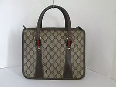 Gucci Vintage Accessary Collection GG Monogram Taupe Shoulder Bag Authentic