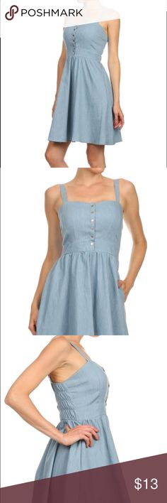 Chambray flare dress Chambray flare dress. Sweetheart neckline sleeveless with wide straps.  100% Cotton. Made in china Dresses Mini