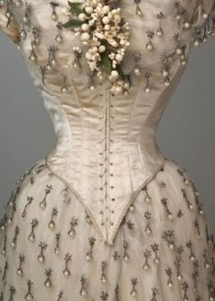 victorian wedding dress - look at that beading *dies*