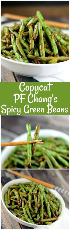 This is the best Copycat PF Chang's Spicy Green Beans recipe and perfect as a side dish or vegetarian main dish served over rice!