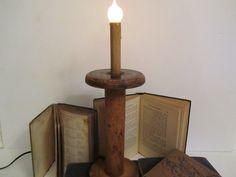 antique spool lamps | wood spool lamp, large wood spool, vintage textile spool, unique lamp