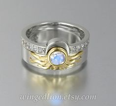 Sun and Moon ECLIPSE engagement and wedding ring set in gold with Moonstone and white sapphires White Gold Wedding Bands, Wedding Band Sets, Ring Ring, Sun And Moon Rings, Moon Wedding, April Wedding, Wedding Jewelry, Wedding Rings, Metal Clay Jewelry