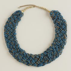 Teal, Purple and Bronze Braided Necklace   World Market