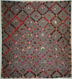 Quilt, Fruit Baskets pattern Date: ca. 1860 Geography: New England, Providence, Rhode Island, United States Culture: American Medium: Silk and silk velvet Dimensions: 86 x 79 in. (218.4 x 200.7 cm) Classification: Textiles